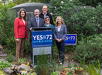 Proposition 72, Rainwater Capture press conference with State Senator Glazer in Judy Adler Garden, Walnut Creek, California