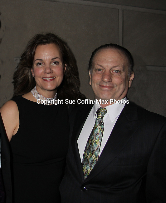 """As The World Turns Margaret Colin poses with husband Guiding Light's Justin Deas at after party as she stars in """"Arcadia"""" - Broadway Opening Night on March 17, 2011 at the Ethel Barrymore Theatre, New York City, New York.  Arrivals, Curtain Call and Party after at Gotham Hall. (Photo by Sue Coflin/Max Photos)"""