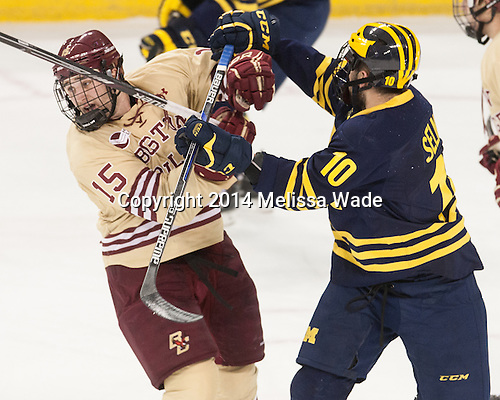 Cam Spiro (BC - 15), Justin Selman (Michigan - 10) - The Boston College Eagles defeated the visiting University of Michigan Wolverines 5-1 (EN) on Saturday, December 13, 2014, at Kelley Rink in Conte Forum in Chestnut Hill, Massachusetts.