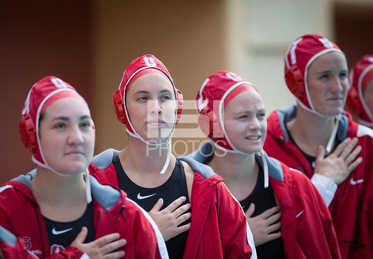 STANFORD, CA - March 23, 2019: Chloe Harbilas, Madison Berggren, Sarah Klass, Makenzie Fischer at Avery Aquatic Center. The #2 Stanford Cardinal took down the #18 Harvard Crimson 20-7.