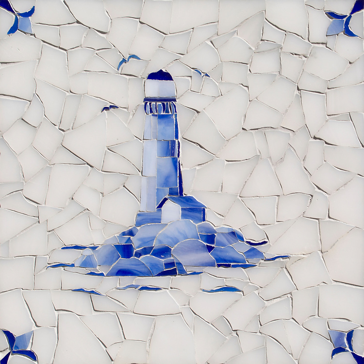 Lighthouse Delft, a hand-cut cut jewel glass mosaic, shown in  Opal Sea Glass™ with jewel glass Lapis Lazuli, Iolite, and Covelite, is part of the Sea Glass™ Collection by New Ravenna.