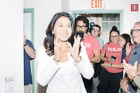Democratic presidential candidate and Hawaii representative (D-HI 2nd) Tulsi Gabbard arrives to speak at Weare Public Library in Weare, New Hampshire, on Thu., September 5, 2019. Gabbard is the sixth Democratic committee invited to the area to speak by the Weare Democrats.