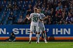 12.10.2018, Stadion an der Bremen Bruecke, Osnabrueck, GER, FSP, 1.FBL, VfL Osnabrueck vs Werder Bremen<br /> <br /> DFL REGULATIONS PROHIBIT ANY USE OF PHOTOGRAPHS AS IMAGE SEQUENCES AND/OR QUASI-VIDEO.<br /> <br /> im Bild / picture shows<br /> Kevin Möhwald / Moehwald (Werder Bremen #06) bejubelt seinen Treffer zum 0:1 mit Davy Klaassen (Werder Bremen #30), <br /> <br /> Foto © nordphoto / Ewert