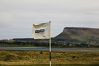 The Flogas flag on the 11th green during a practice round for the Flogas Irish Amateur Open Championship 2019 at the Co.Sligo Golf Club, Rosses Point, Sligo, Ireland. 15/05/19<br /> <br /> Picture: Thos Caffrey / Golffile<br /> <br /> All photos usage must carry mandatory copyright credit (© Golffile | Thos Caffrey)