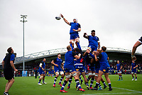 Dave Attwood of Bath Rugby wins the ball at a lineout during the pre-match warm-up. Pre-season friendly match, between Edinburgh Rugby and Bath Rugby on August 17, 2018 at Meggetland Sports Complex in Edinburgh, Scotland. Photo by: Patrick Khachfe / Onside Images