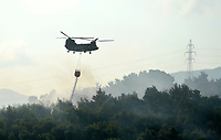 Pictured: A military Chinook helicopter assists with the fire fighting.<br /> Re: A forest fire has been raging in the area of Kalamos, 20 miles north-east of Athens in Greece. There have been power cuts, country houses burned and children camps evacuated from the area.