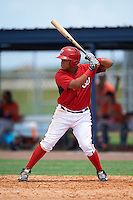 GCL Nationals left fielder Aldrem Corredor (5) at bat during a game against the GCL Astros on August 14, 2016 at the Carl Barger Baseball Complex in Viera, Florida.  GCL Nationals defeated GCL Astros 8-6.  (Mike Janes/Four Seam Images)