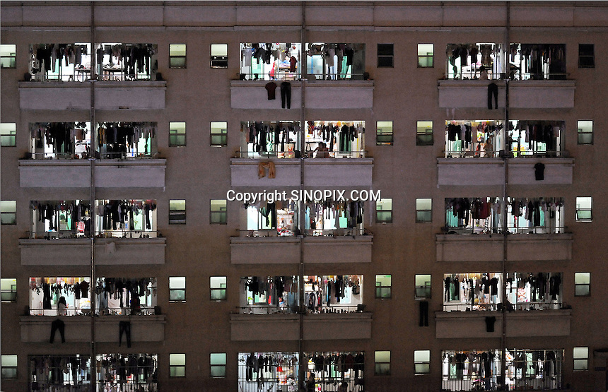 Dormitories at the Longhua dormitory town where Foxconn workers live, Shenzhen, China.<br />