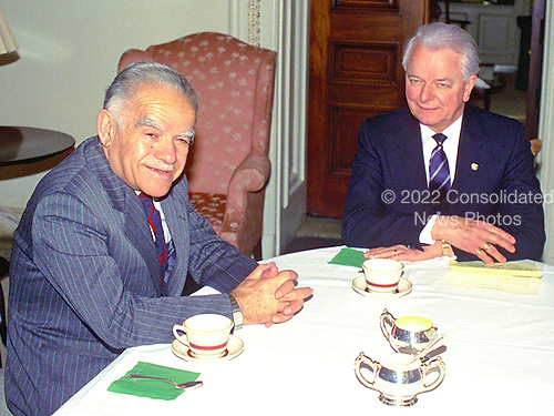 Washington, D.C. - (FILE) -- United States Senator Robert C. Byrd (Democrat of West Virginia), the Senate Majority Leader, right, meets Prime Minister Yitzhak Shamir of Israel, left, in his Capitol Hill office in Washington, D.C. on Tuesday, March 15, 1988.  They were discussing the Middle East peace plan advanced by United States Secretary of State George Shultz..Credit: Ron  Sachs / CNP
