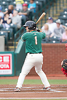 Avery Romero (1) of the Greensboro Grasshoppers at bat against the Hagerstown Suns at NewBridge Bank Park on May 20, 2014 in Greensboro, North Carolina.  The Grasshoppers defeated the Suns 5-4. (Brian Westerholt/Four Seam Images)
