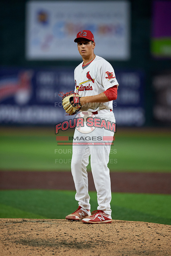 Johnson City Cardinals relief pitcher Michael Brettell (26) gets ready to deliver a pitch during a game against the Danville Braves on July 28, 2018 at TVA Credit Union Ballpark in Johnson City, Tennessee.  Danville defeated Johnson City 7-4.  (Mike Janes/Four Seam Images)