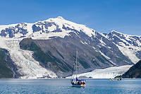 Sailboat in Barry Arm, Prince William Sound, Alaska.