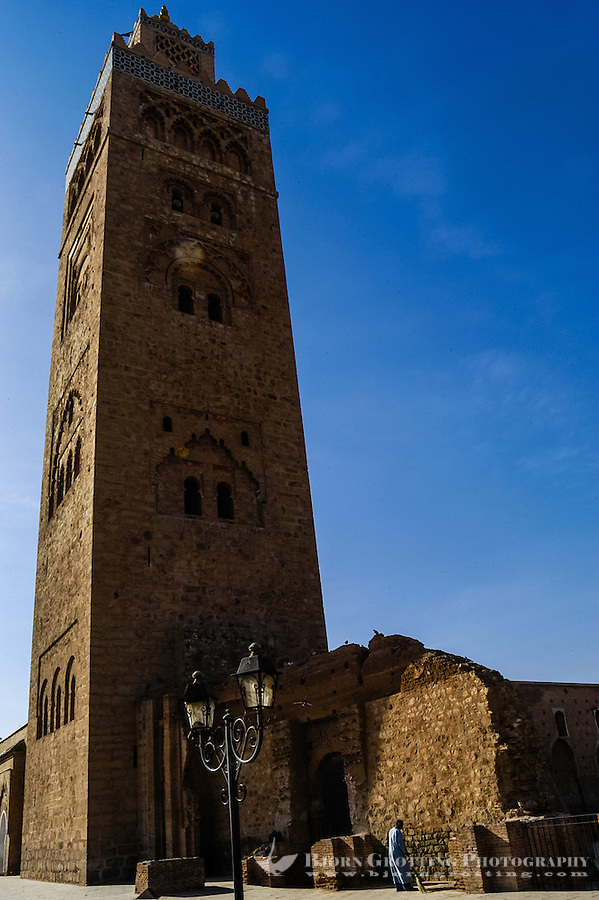 Morocco, Marrakesh. The Koutoubia Mosque is the largest mosque in Marrakech.
