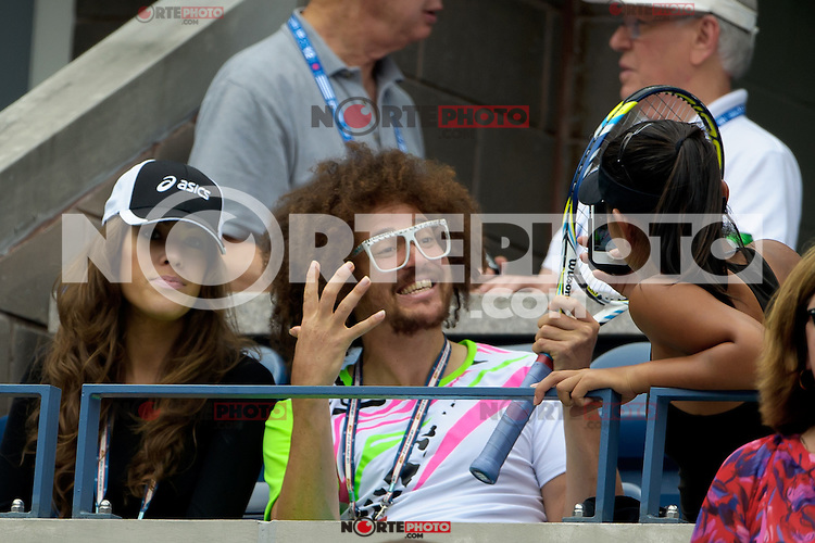 """NEW YORK, NY - September 4, 2012: Stefan 'RedFoo"""" Gordy from the musical duo LMFAO attends Day 9 of the 2012 U.S. Open Tennis Championships at the USTA Billie Jean King National Tennis Center in Flushing, Queens, New York, USA. © MPI105/MediaPunch Inc. /NortePhoto.com<br /> <br /> **CREDITO*OBLIGATORIO** *No*Venta*A*Terceros*<br /> *No*Sale*So*third* ***No*Se*Permite*Hacer Archivo***No*Sale*So*third"""