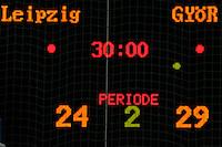 Handball EHF CHAMPIONS LEAGUE FRAUEN - HC Leipzig (GER) : Györ (HUN) - im Bild: das nüchterne Resultat des Spiels an der Anzeigetafel am Ende der zweiten 30 Minuten - die Ungarinnen holten sich die wichtigen Punkte bei den Messestädterinnen vom HCL mit einer überragenden Vorstellung  und letztlich 4 Toren Vorsprung  ab.  Foto: aif / Norman Rembarz