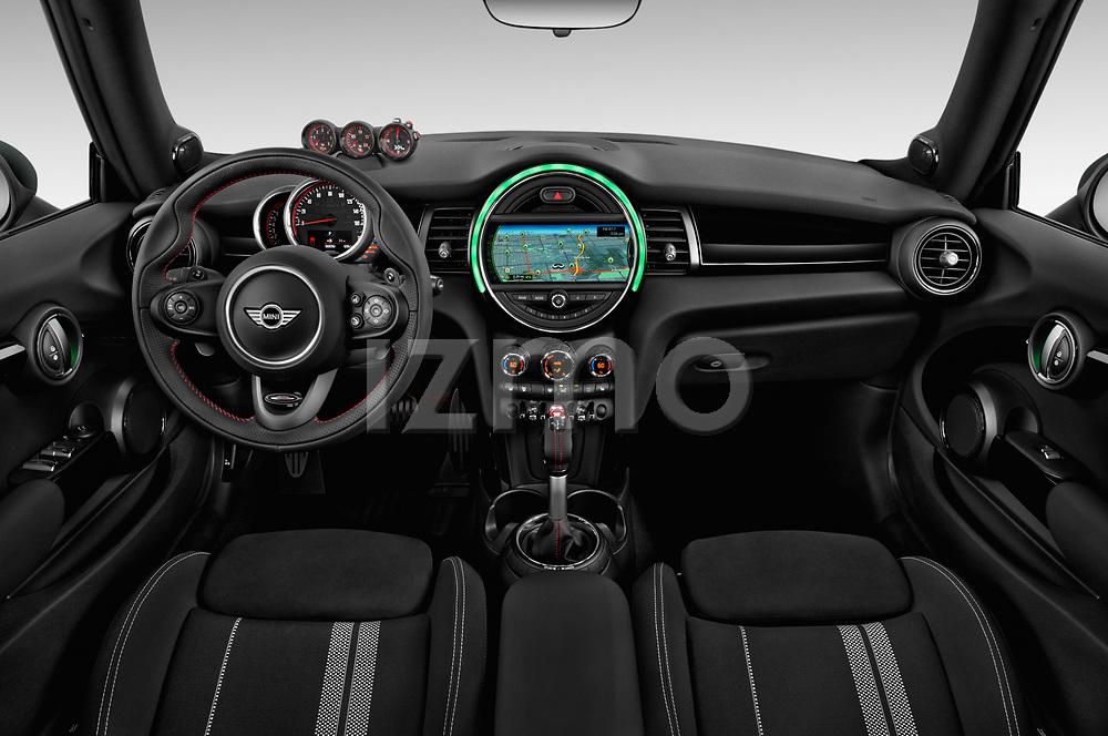 Stock photo of straight dashboard view of 2017 Mini Cooper John Cooper Works 2 Door Convertible