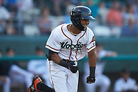Leody Taveras (3) of the Down East Wood Ducks hustles down the first base line against the Winston-Salem Dash at Grainger Stadium Field on May 17, 2019 in Kinston, North Carolina. The Dash defeated the Wood Ducks 8-2. (Brian Westerholt/Four Seam Images)