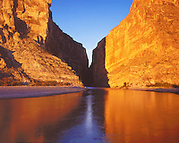 Sunrise light on Santa Elena Canyon and the Rio Grande River; Big Bend National Park, TX