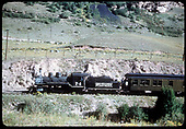 RGS #74 with RMRRC excursion northbound near San Miguel after leaving Telluride.  Only &quot;Edna&quot; shows in this view.<br /> RGS  San Miguel, CO  Taken by Kindig, Richard H. - 9/2/1951