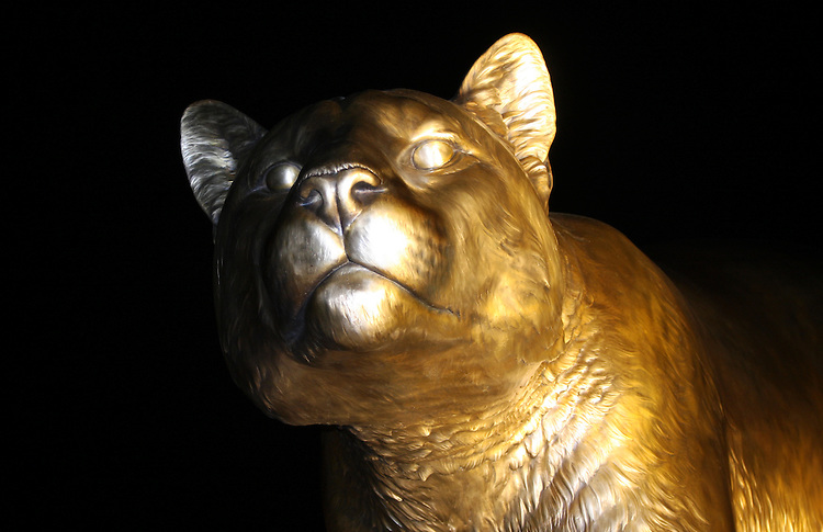 """Cougar Pride"", a 15 foot tall bronze monument of a cougar, the Washington State University mascot, sculpted by artists Mike and Chester Fields, now greets fans at the entrance to Martin Stadium in Pullman, Washington."
