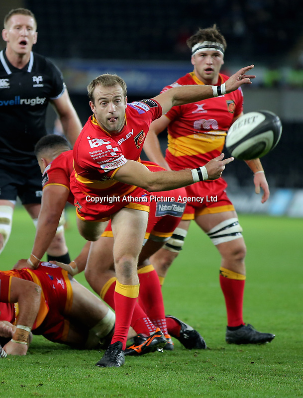 Sarel Pretorius of the Dragons passes the ball during the Guinness PRO14 match between Ospreys and Dragons at The Liberty Stadium, Swansea, Wales, UK. Friday 27 October 2017