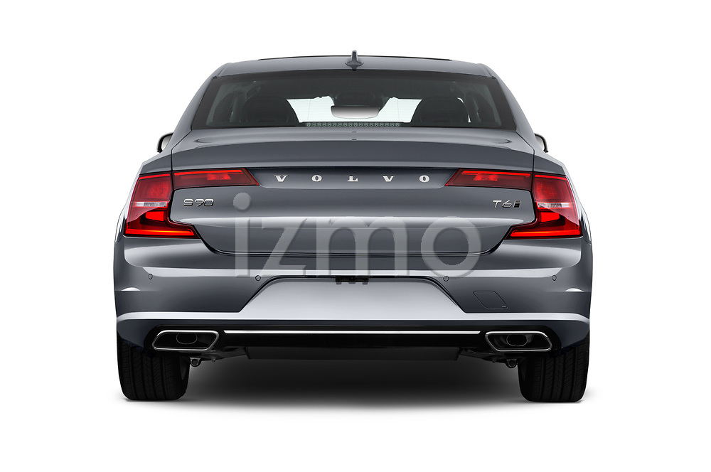 Straight rear view of a 2018 Volvo S90 Momentum 4 Door Sedan stock images