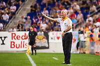 Houston Dynamo head coach Dominic Kinnear. The New York Red Bulls defeated the Houston Dynamo 2-0 during a Major League Soccer (MLS) match at Red Bull Arena in Harrison, NJ, on August 10, 2012.