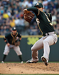 Oakland Athletics pitcher Sonny Gray pitches against the Seattle Mariners September 13, 2014 at Safeco Field in Seattle.    The Athletics beat the Mariners 3-2 when Mariners pitcher Fernando Rodney  walked in Coco Crisp in the 10th inning.  ©2014. Jim Bryant Photo. All Rights Reserved.
