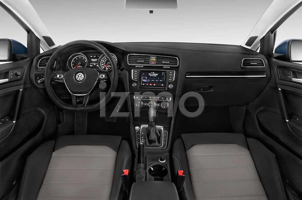 Stock photo of straight dashboard view of a 2015 Volkswagen Golf SEL 4-door TSI  Auto PZEV 4 Door Hatchback Dashboard