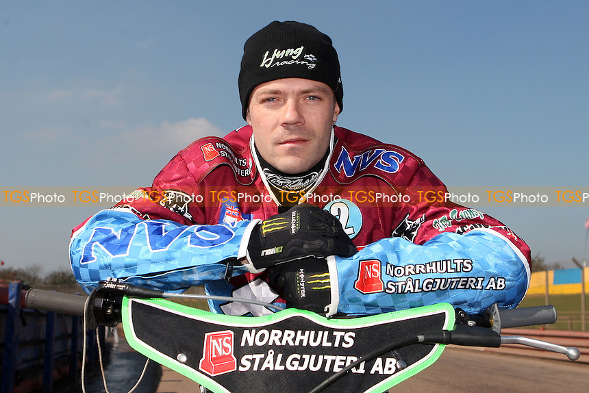 Peter Ljung of Lakeside Hammers - Lakeside Hammers and Hackney Hawks Press and Practice Day at the Arena Essex Raceway, Purfleet - 23/03/11 - MANDATORY CREDIT: Rob Newell/TGSPHOTO - Self billing applies where appropriate - 0845 094 6026 - contact@tgsphoto.co.uk - NO UNPAID USE.