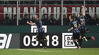 Calcio, Serie A: AC Milan - Inter Milan, Giuseppe Meazza (San Siro) stadium, Milan on 17 March 2019.  <br /> Inter's Stefan De Vrij (l) celebrates after scoring during the Italian Serie A football match between Milan and Inter Milan at Giuseppe Meazza stadium, on 17 March 2019. <br /> UPDATE IMAGES PRESS/Isabella Bonotto