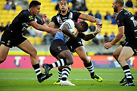 Fiji's Suliasi Vunivalu is tackled during the 2017 Rugby League World Cup quarterfinal match between New Zealand Kiwis and Fiji at Wellington Regional Stadium in Wellington, New Zealand on Saturday, 18 November 2017. Photo: Dave Lintott / lintottphoto.co.nz