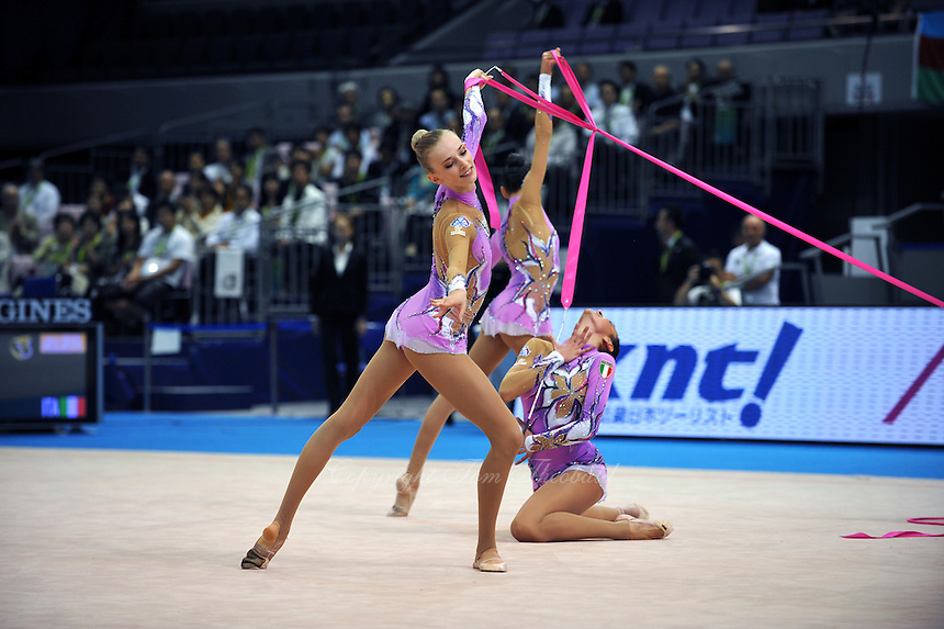 September 13, 2009; Mie, Japan;  (Center) Anzhelika Savrayuk and Italian rhythmic group performs during ropes + ribbons Event Final after earlier winning gold in group All Around the day before at the 2009 World Championships Mie, Japan. Photo by Tom Theobald.