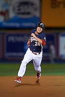 Reading Fightin Phils first baseman Brock Stassi (28) running the bases during a game against the New Britain Rock Cats on August 7, 2015 at FirstEnergy Stadium in Reading, Pennsylvania.  Reading defeated New Britain 4-3 in ten innings.  (Mike Janes/Four Seam Images)
