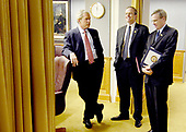 Arlington, VA - May 10, 2007 -- United States President George W. Bush talks with National Security Advisor, Steve Hadley, and Counselor to the President of the United States, Dan Bartlett, after a meeting with senior defense leaders at the Pentagon on Thursday, May 10, 2007. <br /> Credit: D. Myles Cullen - DoD via CNP