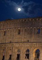 La Luna sovrasta il Colosseo prima dell'inizio della Via Crucis presieduta dal Papa, a Roma, 3 aprile 2015.<br /> The Moon above the Colosseum on the occasion of Via Crucis (Way of the Cross) torchlight procession attended by the Pope in Rome, 3 April 2015.<br /> UPDATE IMAGES PRESS/Riccardo De Luca<br /> <br /> STRICTLY ONLY FOR EDITORIAL USE