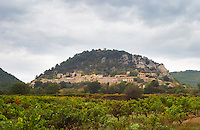 The Seguret village clinging to the hillside, viewed over a vineyard, Domaine de Cabasse. Domaine de Cabasse Hotel Restaurant, Alfred and Antoinette Haeni, Séguret, Seguret Cote du Rhone Vaucluse Provence France Europe