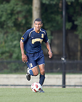 Quinnipiac University defender Brandon Strain-Goode (2) brings the ball forward. Boston College defeated Quinnipiac, 5-0, at Newton Soccer Field, September 1, 2011.