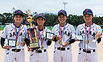 (from left to right): Pitcher Himeno Mayu #19 of Japan, the best pitcher of the All-Star Team awards and the Pitcher with the Best Earn Run Average, Infielder Yoshii Harue #52 of Japan, the best shortstop of the All-Star Team awards, <br /> Catcher Kanemitsu Ririna #13 of Japan, the Most Outstanding Defensive Player, and Catcher Ogata Yuka  #2 of Japan, the Most Valuable Player and the best designated hitter of the All-Star Team awards, pose for photo with medal and trophy during the BFA Women's Baseball Asian Cup Presentation Ceremony at Sai Tso Wan Recreation Ground on September 7, 2017 in Hong Kong, China. Photo by Yu Chun Christopher Wong / Power Sport Images