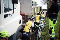 As an unloading truck blocks the infamous narrow Koppenberg, the Team LottoNL-Jumbo riders need to go cyclocross during their Ronde van Vlaanderen 2016 recon
