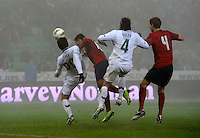 Clint Dempsey (m, USA), shot his Goal to 2:1 with his Head, during the friendly match Slovenia against USA at the Stozice Stadium in Ljubljana, Slovenia on November 15th, 2011.