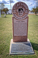 Will Rogers Highway marker moved to the Howard Litch Memorial Park in Galena Kansas on Route 66.
