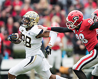 Athens, Georgia - November 24, 2018: Sanford Stadium, the number 5 ranked University of Georgia Bulldogs play the Georgia Tech Yellow Jackets.