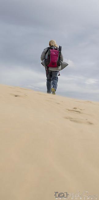 Walking off into sand dunes. Stockton Beach Sand dunes Worimi Conservation Lands. Anna Bay, Port Stephens, NSW, Australia