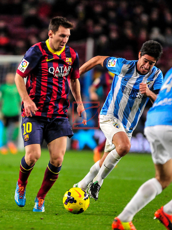 League BBVA 2013/2014 - Game: 21.<br /> FC Barcelona vs Malaga CF: 3-0.<br /> Lionel Messi vs Duda.