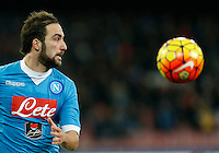 Napoli's Gonzalo Higuain  during the  italian serie a soccer match,between SSC Napoli and Torino      at  the San  Paolo   stadium in Naples  Italy , January 07, 2016