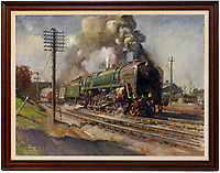 BNPS.co.uk (01202 558833)<br /> Pic: Sworders/BNPS<br />  <br /> Famous locomotive painting that got the South African security services all steamed up chuffs up for auction.<br /> <br /> An oil painting of a historic steam train which almost sparked a little-known international incident has emerged for sale for £60,000.<br /> <br /> The 1963 artwork by Terence Cuneo shows the last ever steam locomotive built for British Railways, the standard class 9F engine.<br /> <br /> Cuneo, who was the 'official artist' for the Queen's coronation, mischievously hid a tiny mouse in all his painting's as a 'good luck symbol' after a painting he did of a mouse eating cheese earlier in his career sold first at a show.<br /> <br /> The rodent, however, sparked a near-frenzy when Officers on board a Union Castle liner en route to Cape Town examined a print of this painting but to their great frustration could not spot the creature, prompting the irate captain to cable the printers demanding to know where it was hidden. <br /> <br /> But the return message 'Up telegraph pole first right' - was intercepted by South African security forces who deemed it highly suspicious and boarded the ship on its arrival in Cape Town, only standing down when they were shown the painting it referred to.
