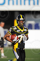 June 23, 2009; Hamilton, ON, CAN; Hamilton Tiger-Cats wide receiver Marquay McDaniel (79). CFL football: Toronto Argonauts vs. Hamilton Tiger-Cats at Ivor Wynne Stadium. The Argos defeated the Tiger-Cats 27-17. Mandatory Credit: Ron Scheffler. Copyright (c) 2009 Ron Scheffler.