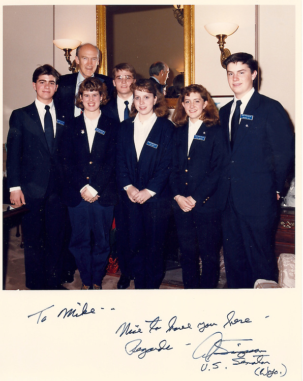 UNITED STATES - JUNE 29:  A 16-year-old Sen. Mike Lee, R-Utah, far right, poses with fellow senate pages and then senator Alan Simpson, R-Wyo., in 1987.  (Courtesy Sen. Mike Lee)