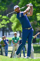Dustin Johnson (USA) watches his tee shot on 7 during round 2 of the World Golf Championships, Mexico, Club De Golf Chapultepec, Mexico City, Mexico. 3/3/2017.<br /> Picture: Golffile | Ken Murray<br /> <br /> <br /> All photo usage must carry mandatory copyright credit (&copy; Golffile | Ken Murray)